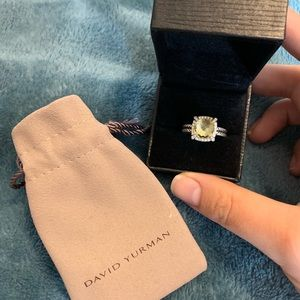 David Yurman Lemon Citrine Ring with Diamonds